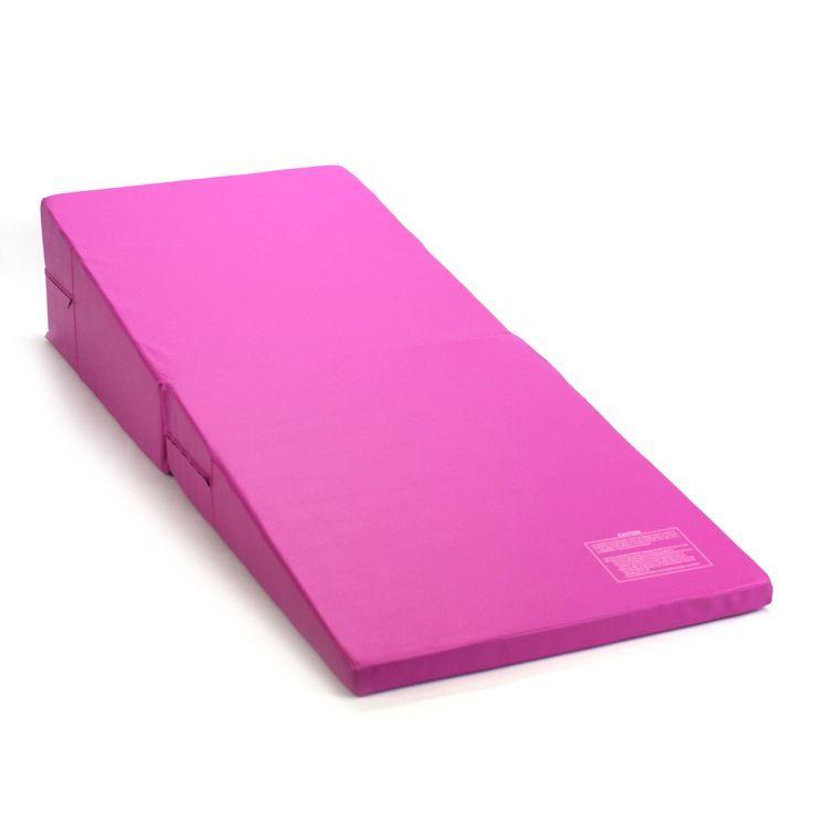 Pink Folding Incline Gymnastics Mat Training Foam Triangle Gym Tumbling Wedge Tumbling Gymnastics Gymnastics Mats Mat Training