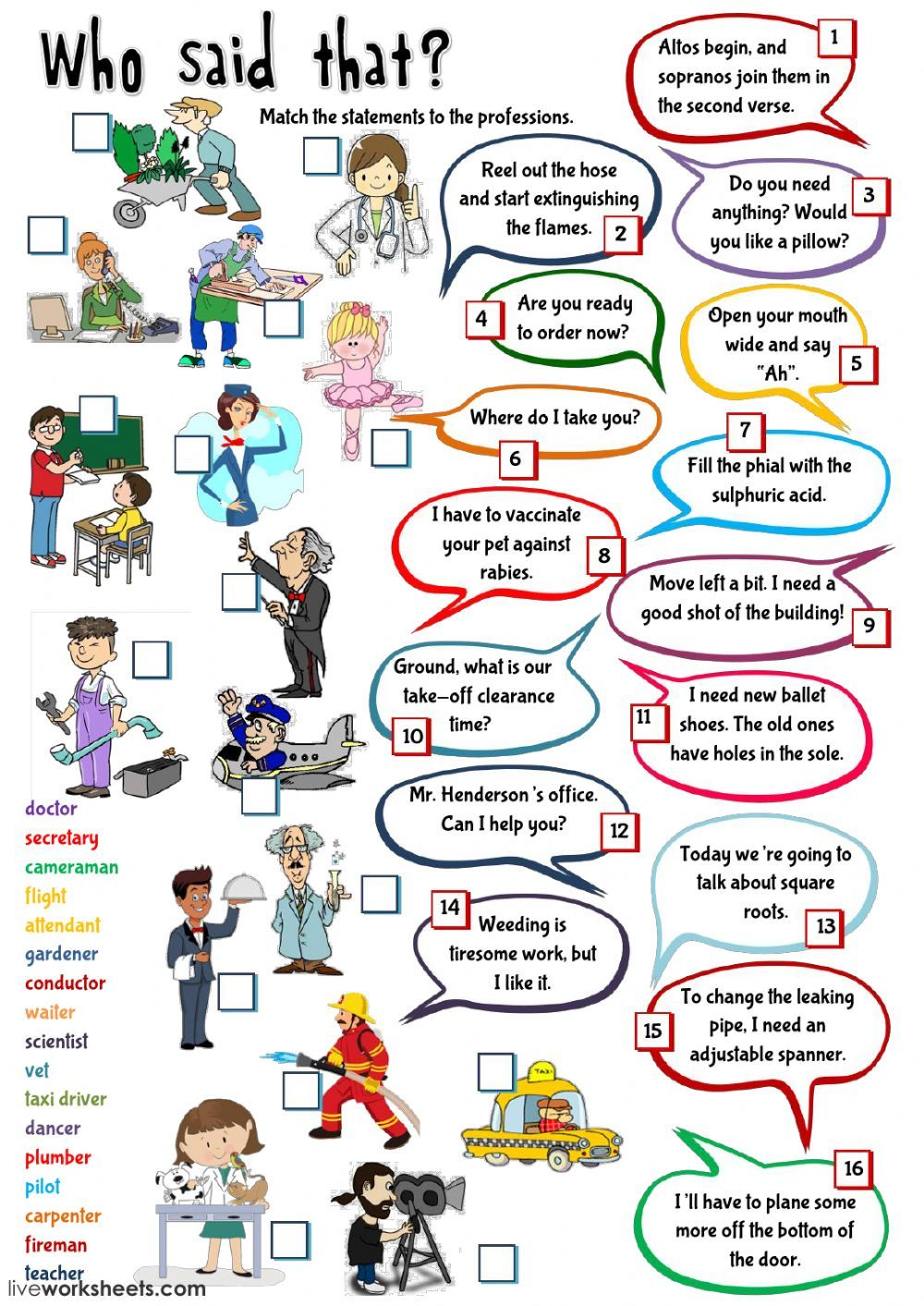 Jobs Exercises Worksheet Pdf - Kidz Activities
