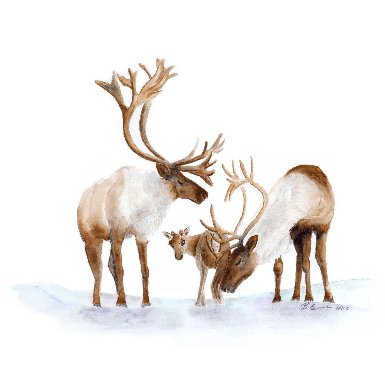 Reindeer Art Arctic Nursery Print Reindeer Painting Reindeer