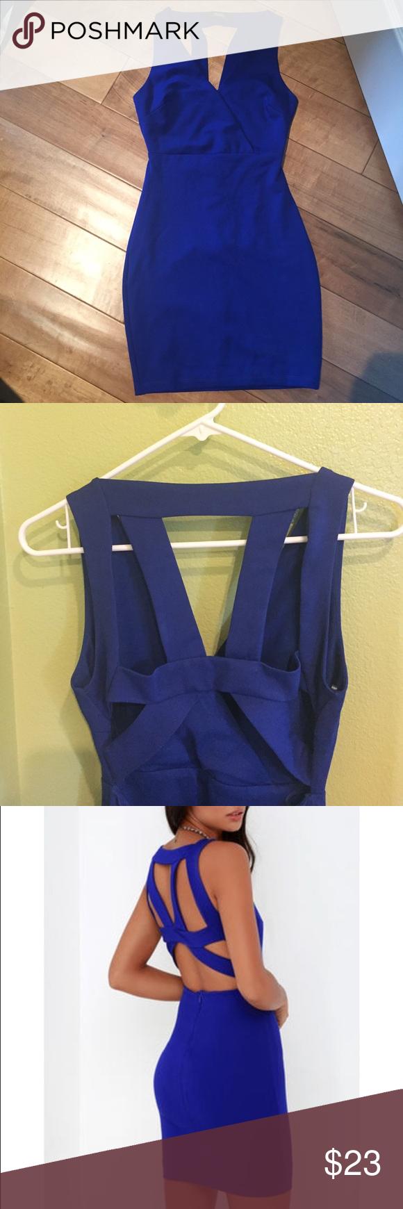 Lulu's Royal Blue Bodycon Dress Royal blue bodycon dress with straps across an open back. Never worn. Lulu's Dresses Mini