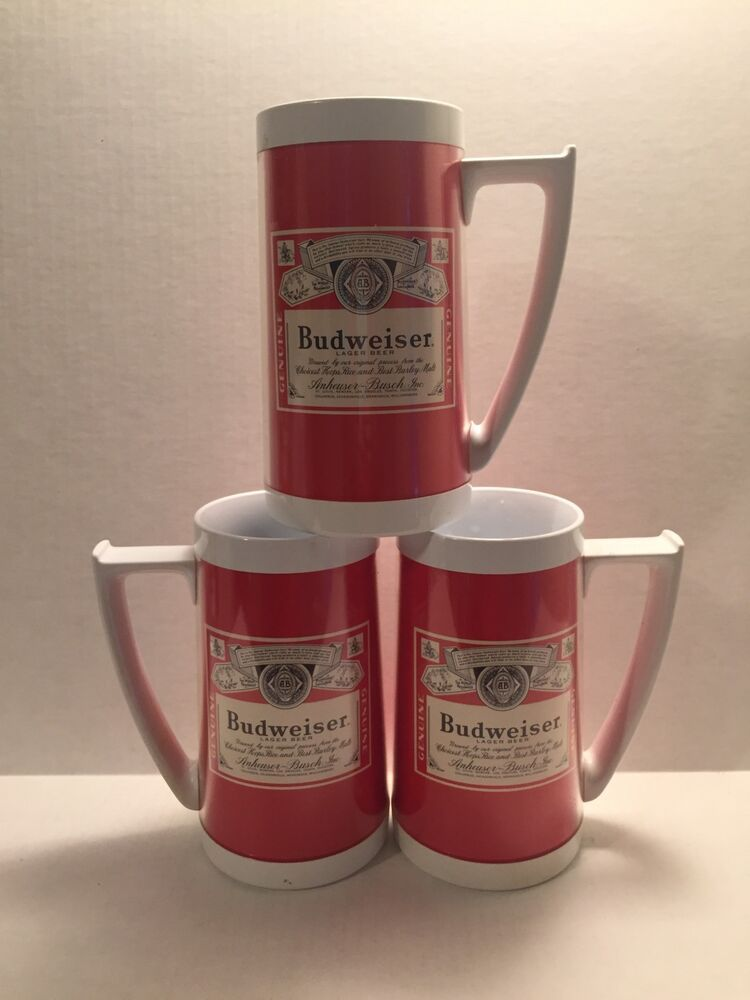 Budweiser mugs vintage thermo serv red steins lot of 3 bud