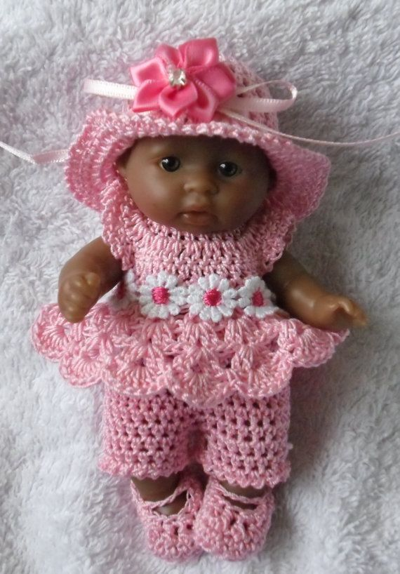 Crochet pattern for Berenguer 5 inch baby doll all-in-one dress set #dolldresspatterns