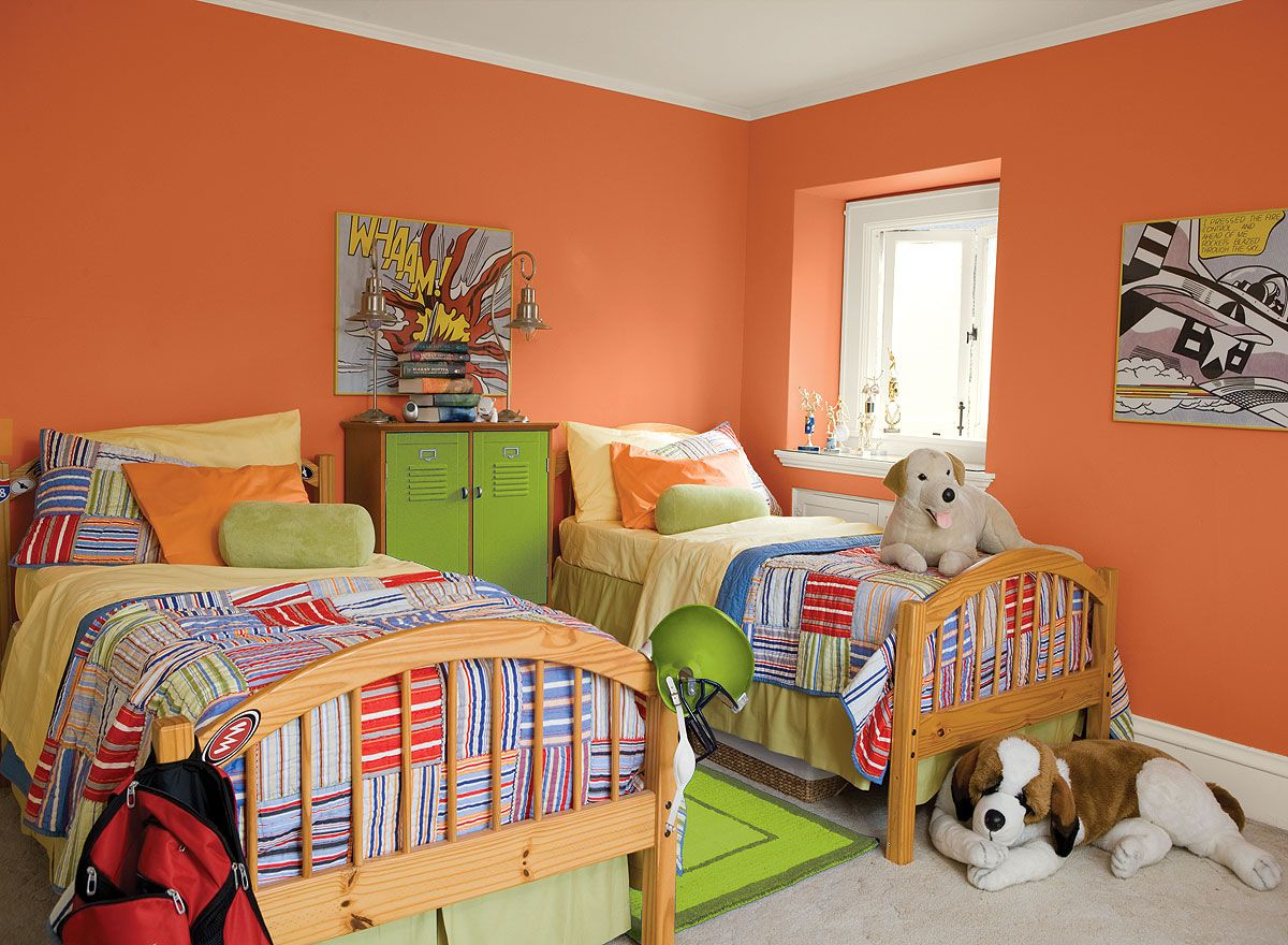 Bright paint colors for kids bedrooms - Benjamin Moore Paint Colors Orange Kids Rooms Ideas Super Charged Kids