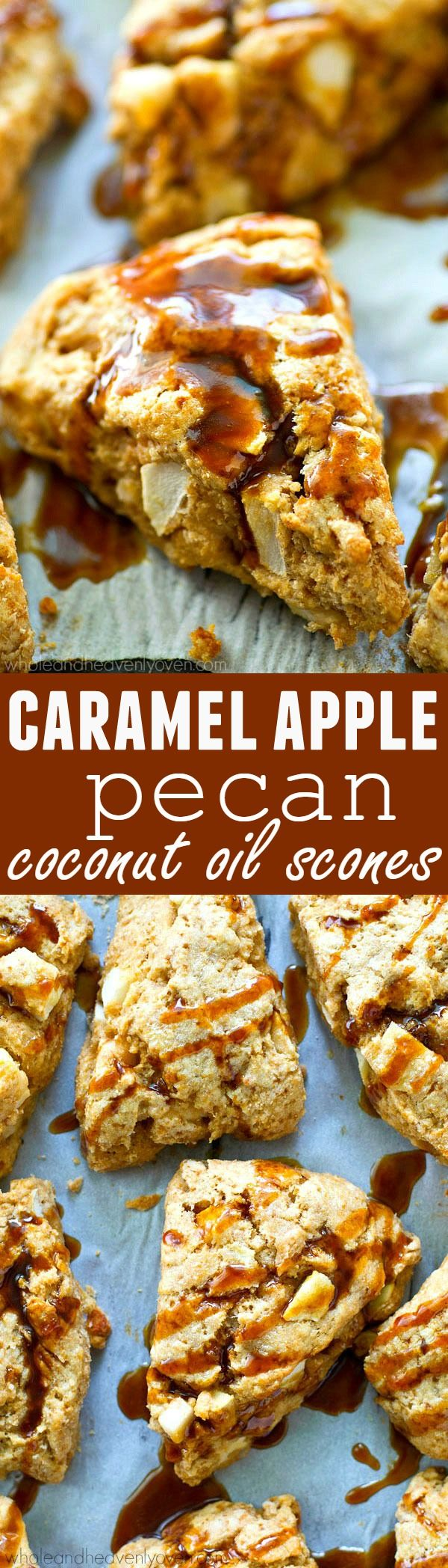Everything you love about caramel apples in healthy coconut oil scone form! These flaky scones are quickly going to become a keeper fall weekend breakfast.
