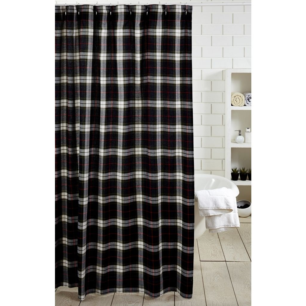 Nolan shower curtain is made entirely of cotton its plaid makes the