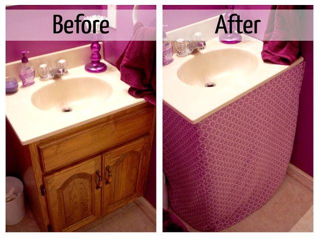 Madcap Frenzy S Simple And Easy Diy Purple Powder Room Bathroom Sink Skirt