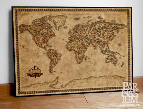 Fantasy Map of the World Wall Art Print Wall decor Fantasy map