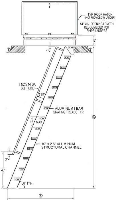 Welded Aluminum Hatch Access Flush Top Ships Ladder Hatch Access