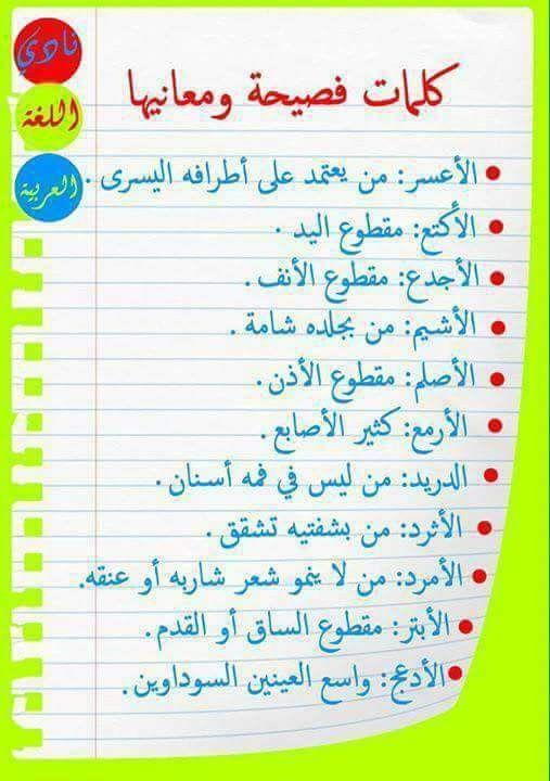 كلمات فصيحة Learn Arabic Language Learn English Words Learn Arabic Alphabet