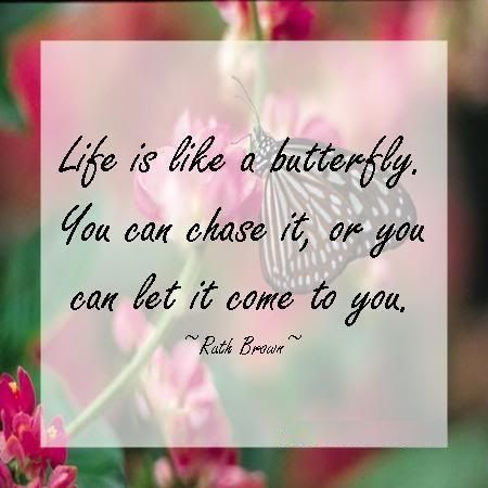 Like Is Like A Butterfly You Can Chase It Or You Can Let It Come