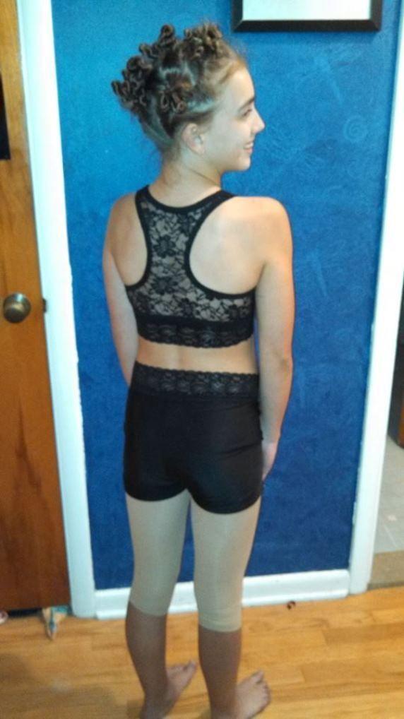 4c612cb32bcc47 Black Lace Dance Bra Sports Bra Cheer Crop Top Youth Sizes | eBay Lace  Leggings,
