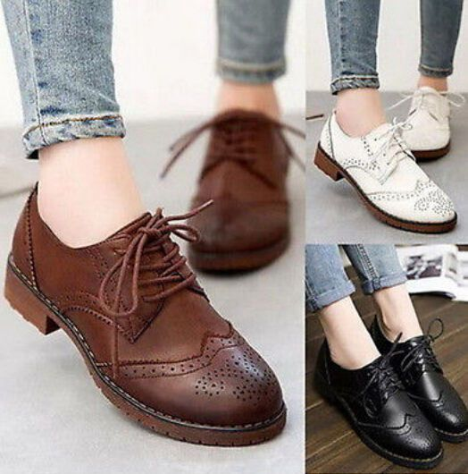 Women Vintage Oxfords Formal Dress Eyelet Lace Up Platform Low Heels Shoes   1023 12280f7f616e