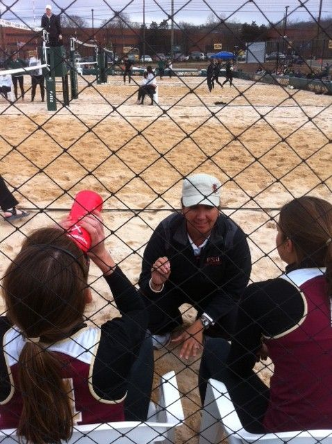 FSU's Corso coaching during sand volleyball match