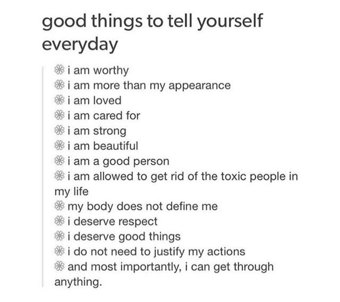 Good Things To Tell Yourself Everyday