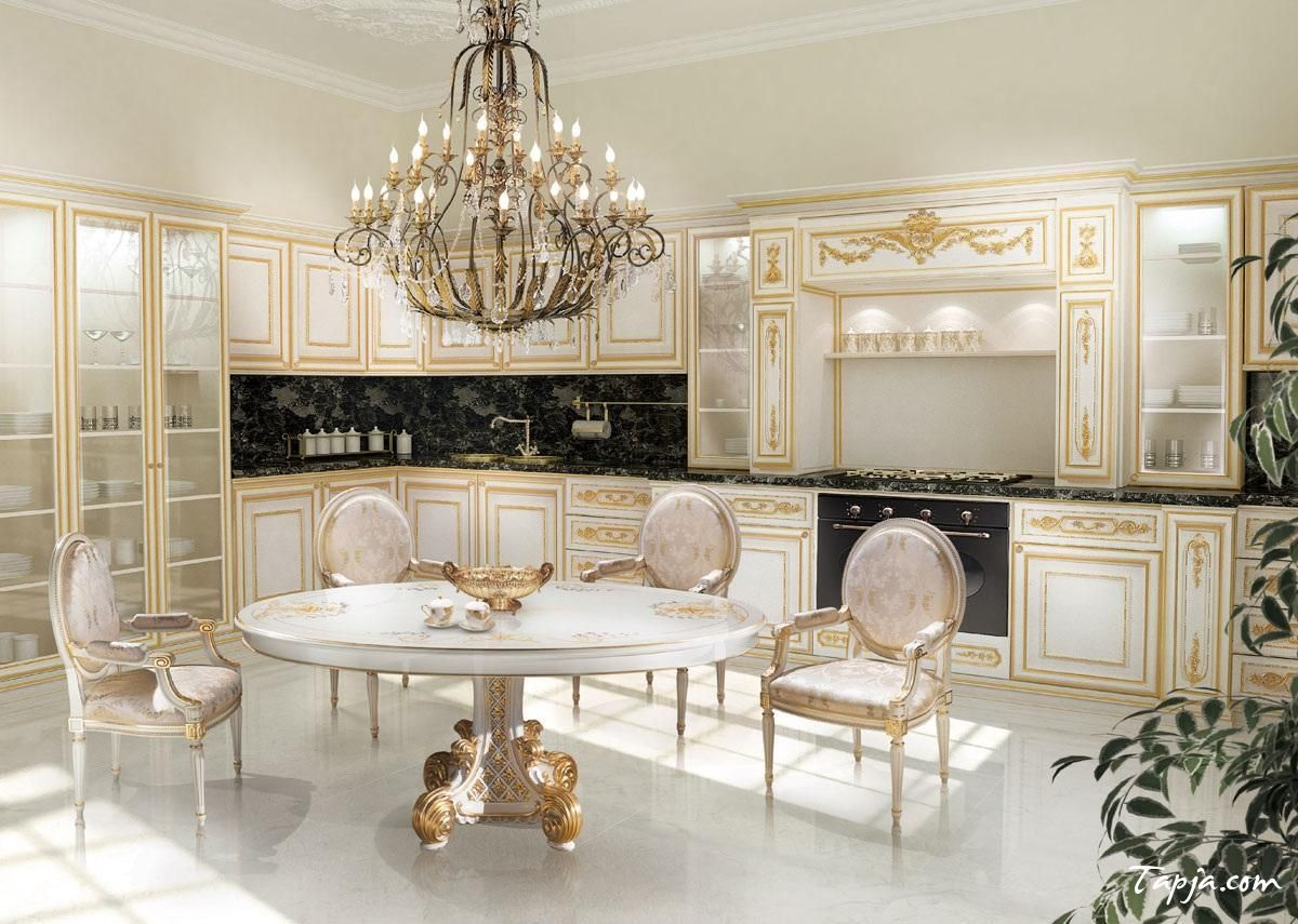Luxury Photo Kitchen Design With Clic Chandelier Above Round Dining Table As Well Gold Beige