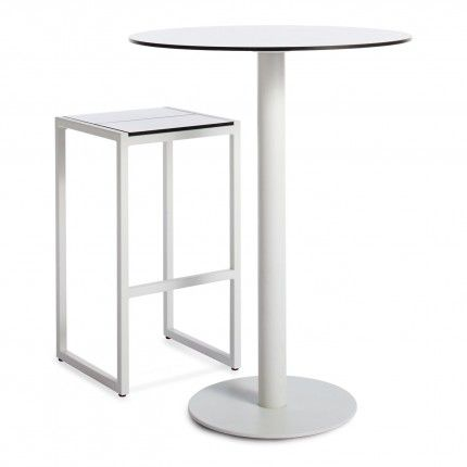 Skiff Outdoor Bar Height Table and Barstool Modern white