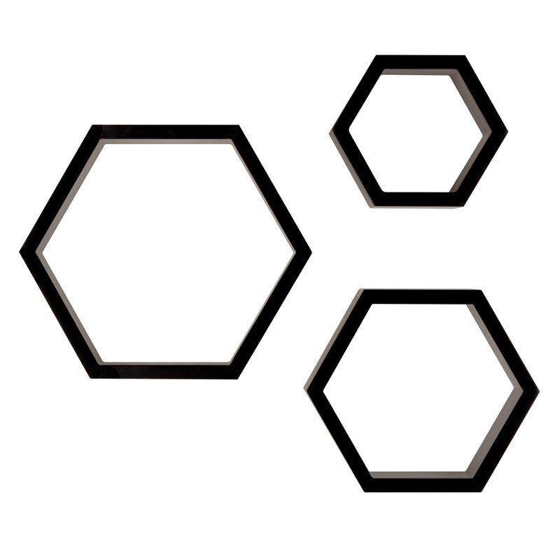 Gilboa 3 Piece Hexagallery Wall Decor Set In 2020 Hexagon Floating Shelves Hexagon Shelves