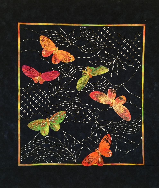 Butterflies & Sashiko Japanese Pre-printed Marbled Fabric Kit ...