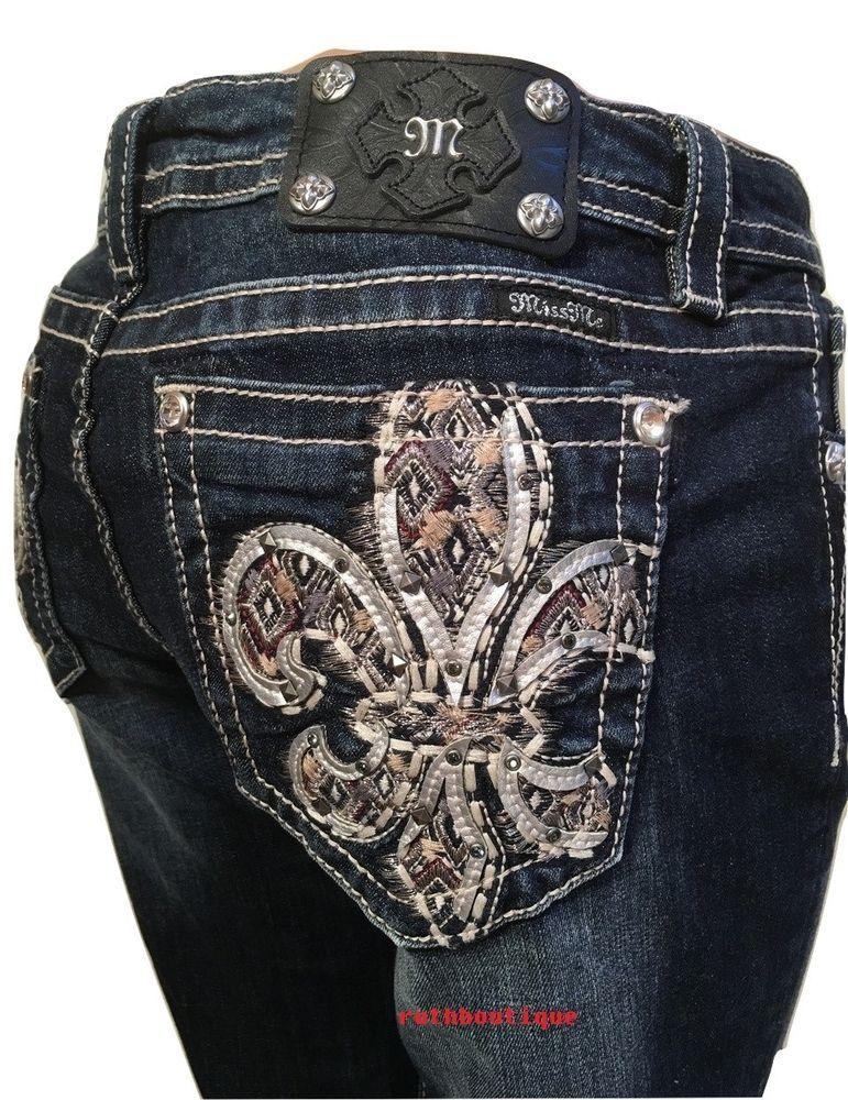 3fb64099533 Miss Me Size 34 (17 18)Aztec Embellish Fleur De Lis Boot Cut Jeans ...