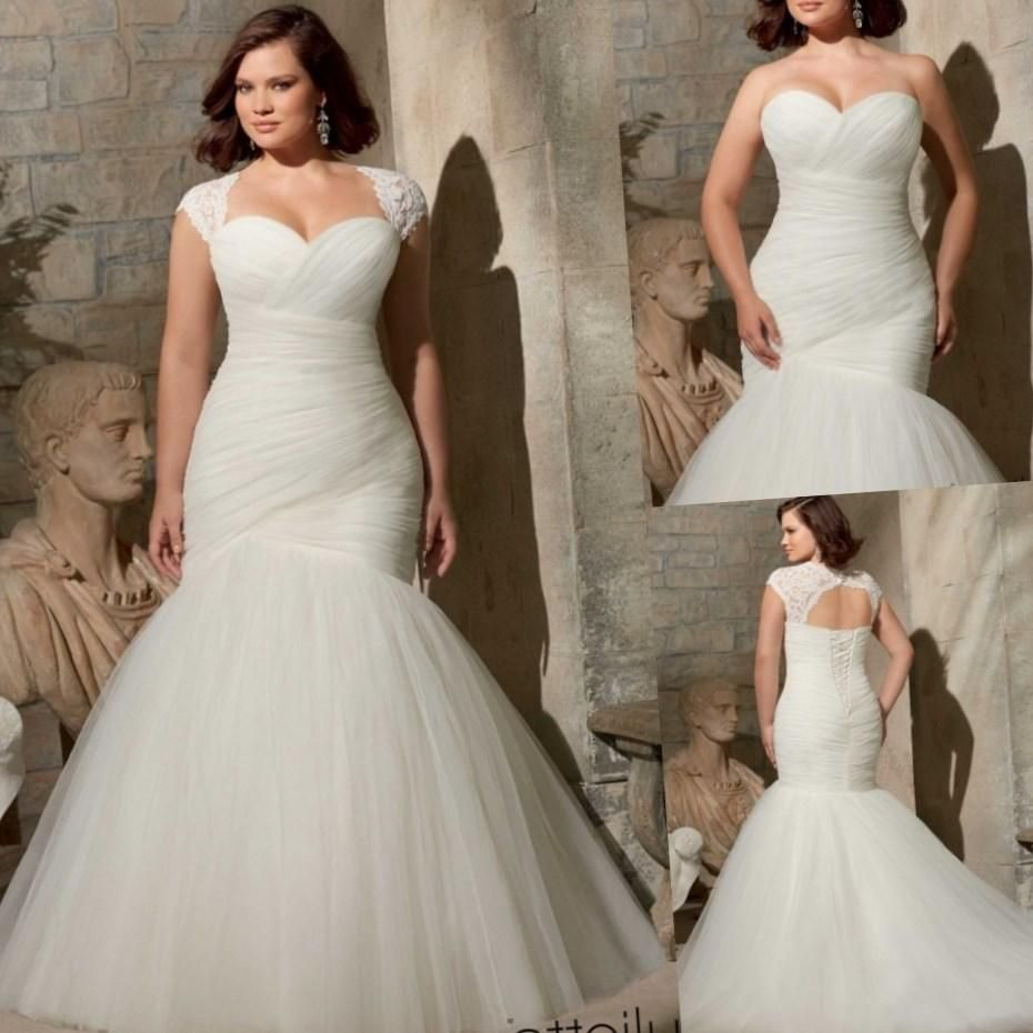 plus size mermaid wedding dresses with sleeves re re | wedding