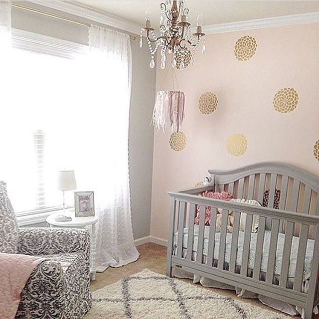 Glam Pink And Gold Nursery Via Peoniesandtwine Light Walls