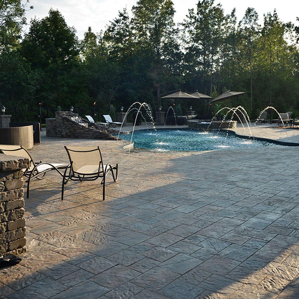 Poolside landscape. Project application using Ridgefield