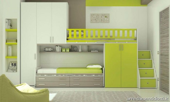 Cameretta nelle finiture frassino bianco verde cedro e tortora con letto a soppalco logic cm - Camerette con letto a soppalco ...