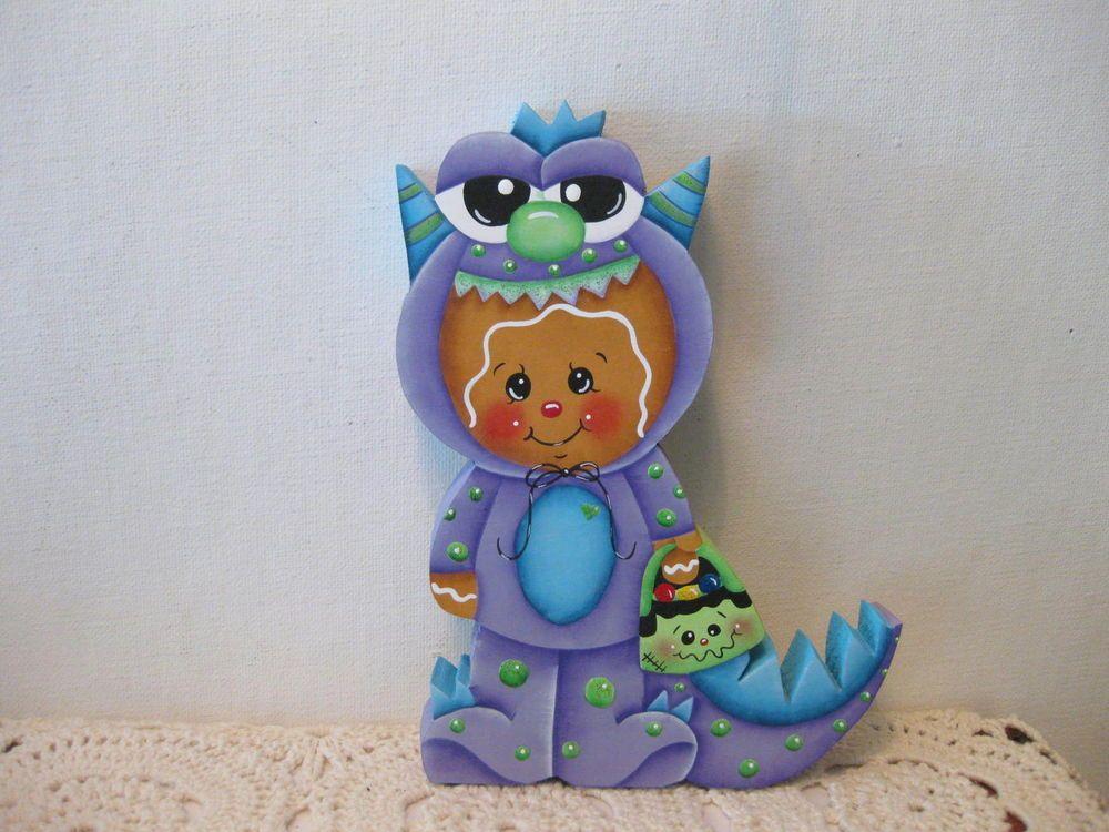HP Gingerbread Halloween purple monster  SHELF SITTER hand painted USA