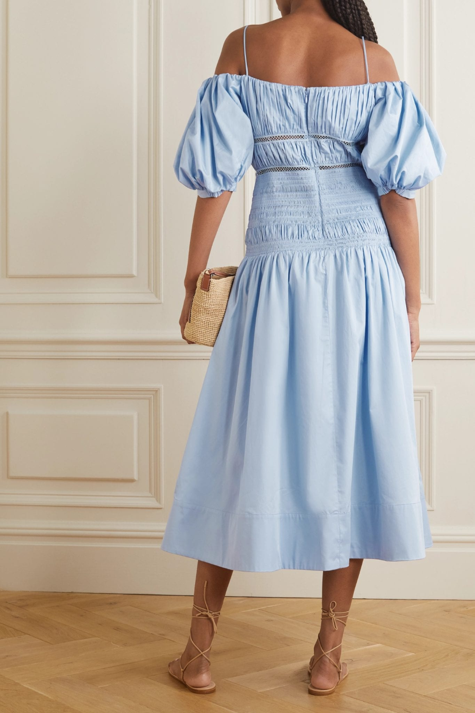 Self Portrait Shirred Crochet Trimmed Cotton Poplin Midi Dress We Select Dresses Select Dress Summer Day Dresses Midi Dress [ 1500 x 1000 Pixel ]