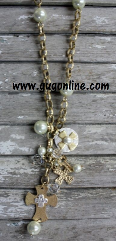 Long Gold and Pearl Necklace with Dangle Pearls and Cross-Shop now at www.gugonline.com use the code GUGREPCOURT every time and anytime you order for 10% off your entire purchase!