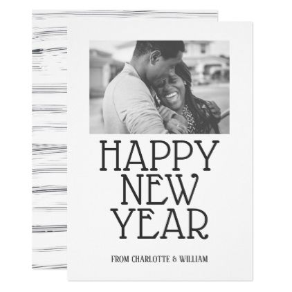 Happy New Year Modern Scribbled Lines Personalized Card - black and ...