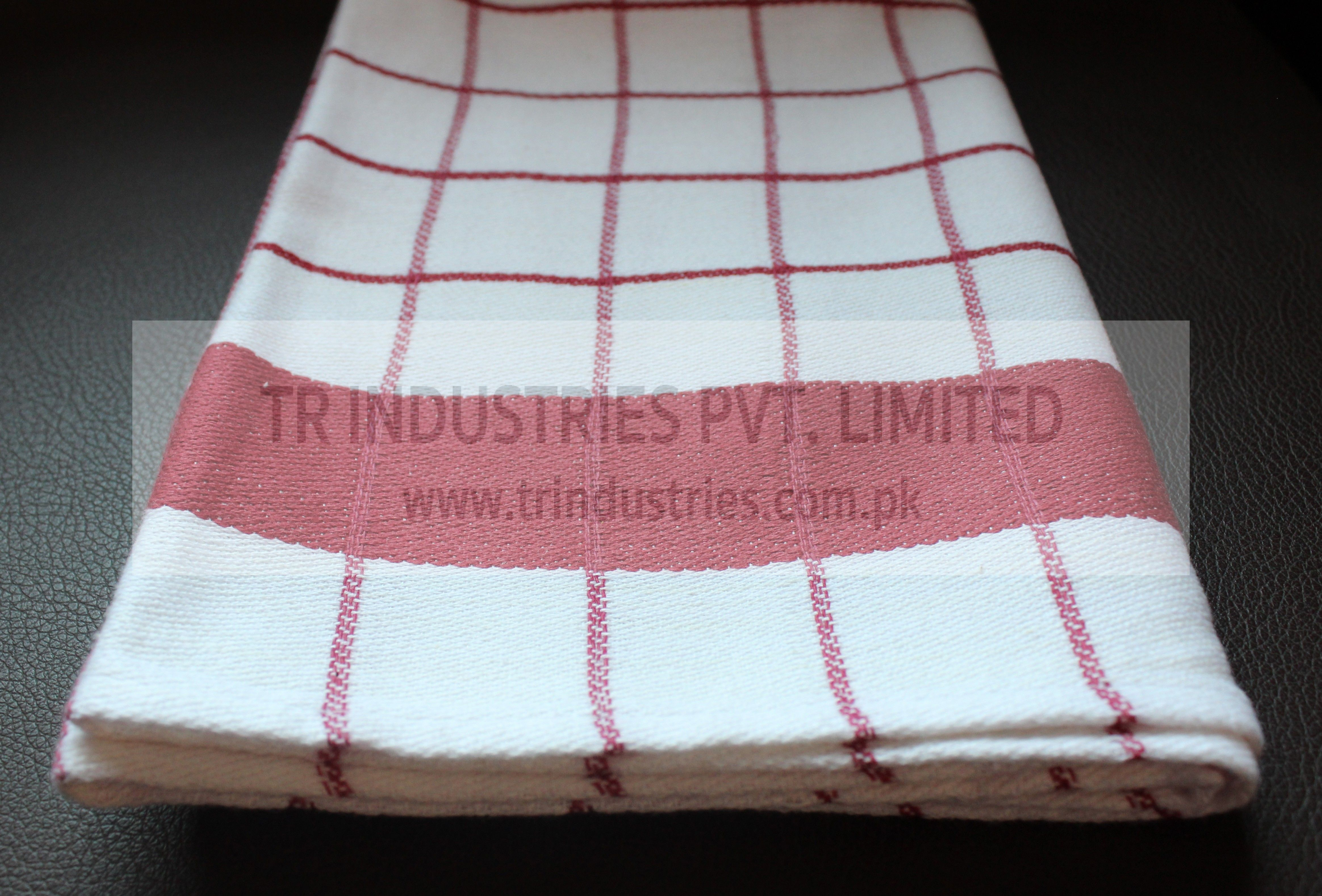 100 Cotton Yarn Dyed Kitchen Towel White Red Check Yarn Dyeing