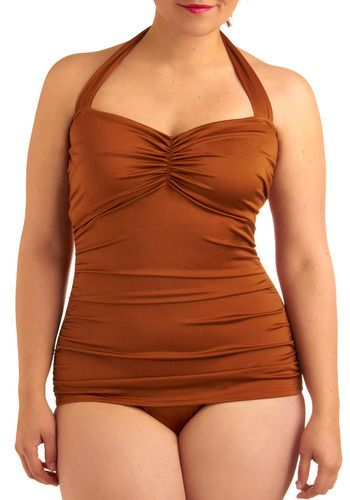 $89 Modcloth.com Bathing Beauty One Piece in Bronze - Plus-Size
