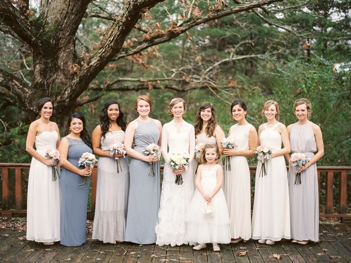 Grays and icy blues mismatched bridesmaid dresses for a classic winter wedding in January | fabmood.com #winterwedding #mismatched #bridesmaids