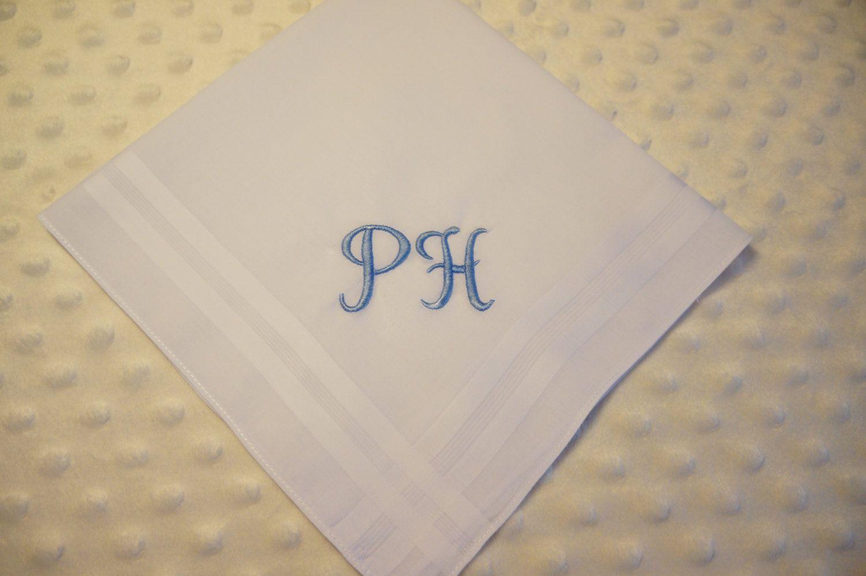 Mens Handkerchief, Mans Handkerchief, Monogrammed Handkerchief, Embroidered  Initials Handkerchief, Wedding handkerchief, Gift for him