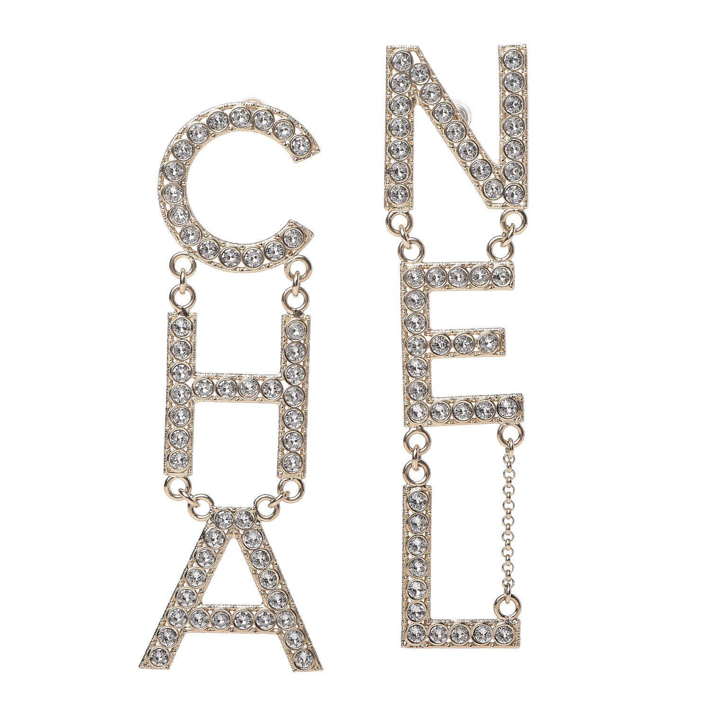 CHANEL Crystal ChaNel Logo Drop Earrings Gold in 2020