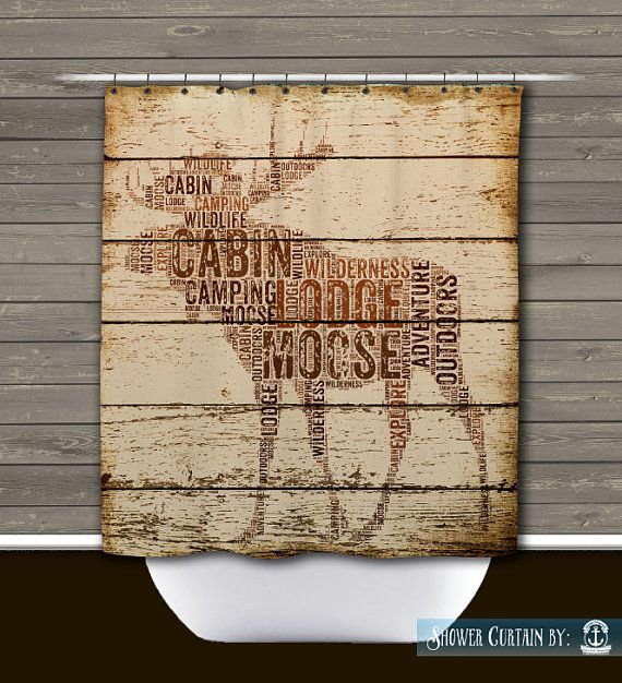 Moose Shower Curtain Rustic Lodge Wilderness By BrandiFitzgerald