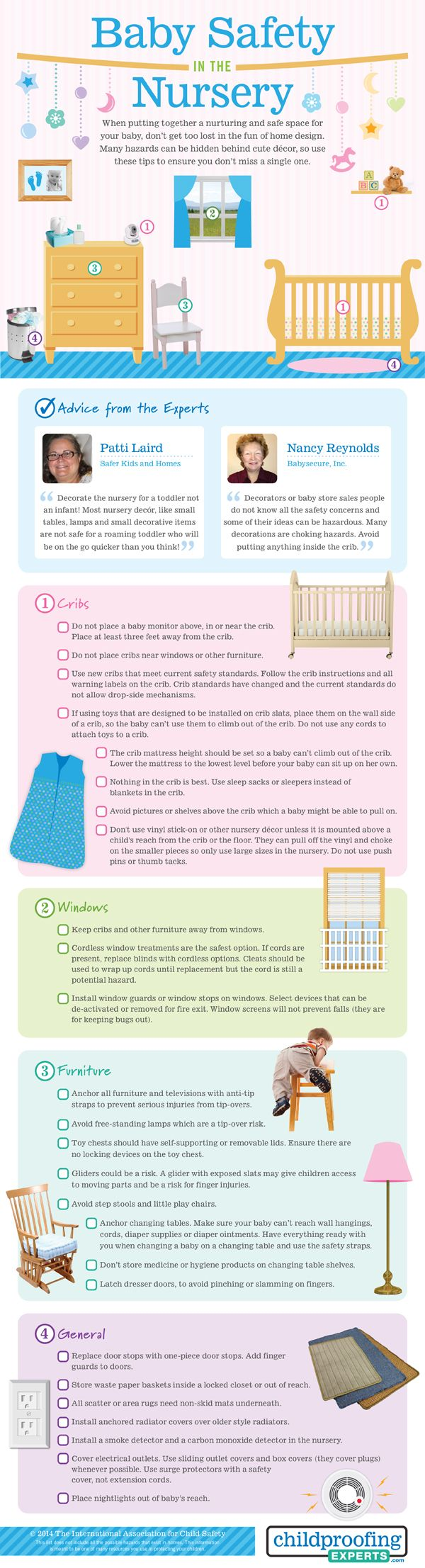 Check out these nursery safety tips to help you set up a safe nursery or childproof your nursery.