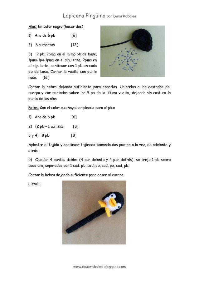 Patron lapicera con_funda_crochet_pinguino   pequeñeces   Pinterest ...