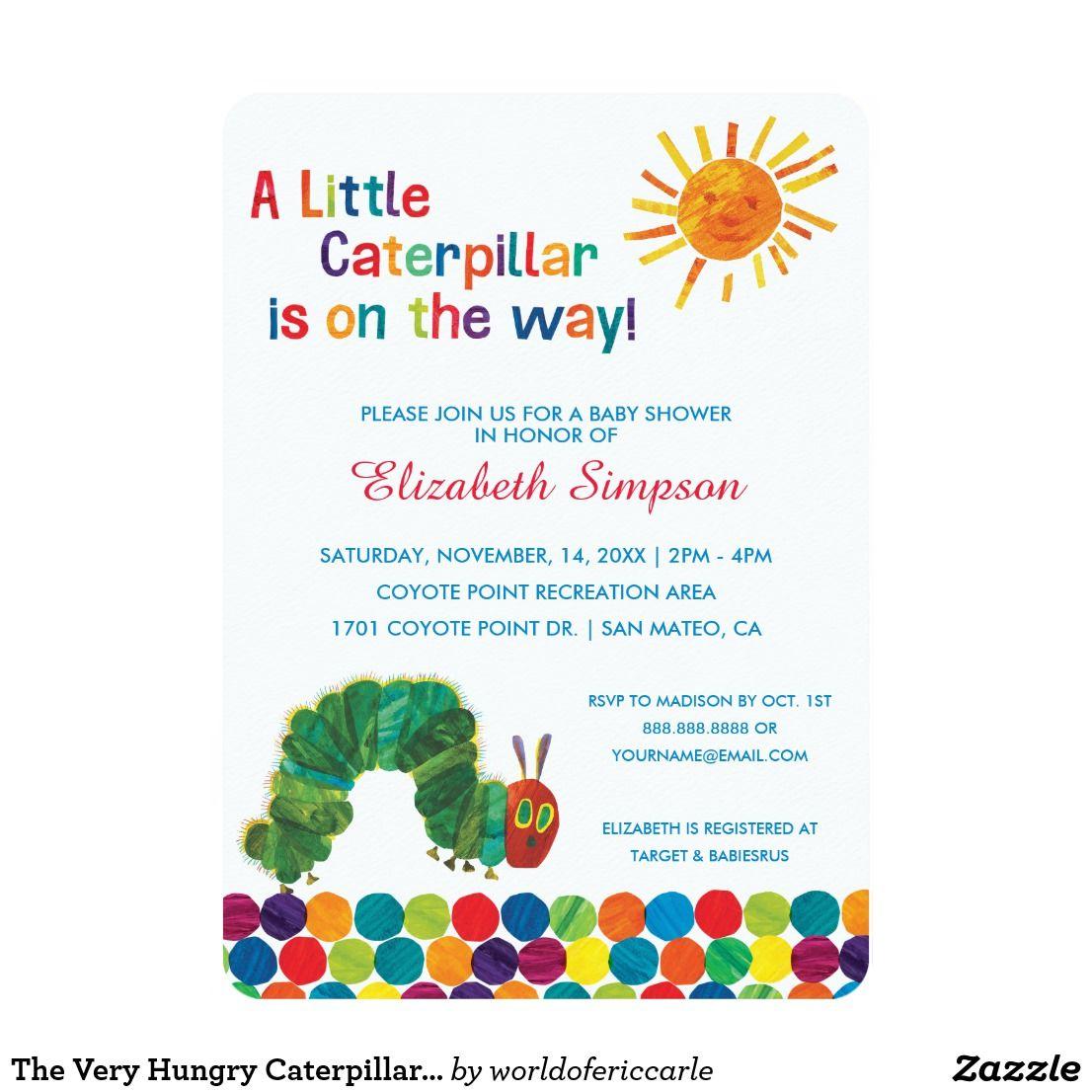 The Very Hungry Caterpillar Baby Shower Card | Julie | Pinterest ...