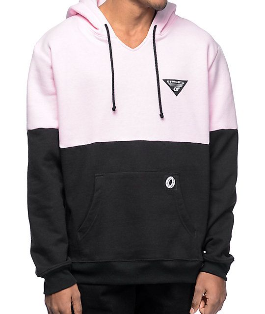 c011a35c The OFWGKTA colorblocked hoodie features a pastel pink upper chest sleeves  and hood paired with a black bottom half torso ...