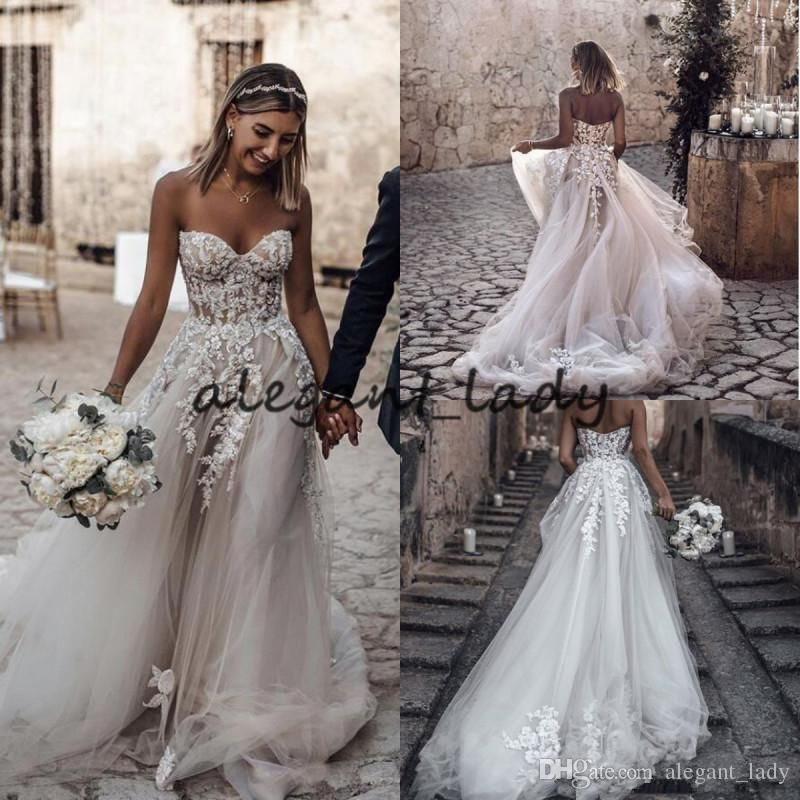 Beach Wedding Dresses 2019 With 3d Floral V Neck Tiered Skirt