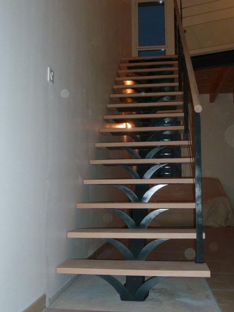 Escalier Droit Marches Bois Limon Central M Tal Pose Saumur Angers Nantes Dimension Escalier Droit Escalier Dimension Escalier Escalier Droit
