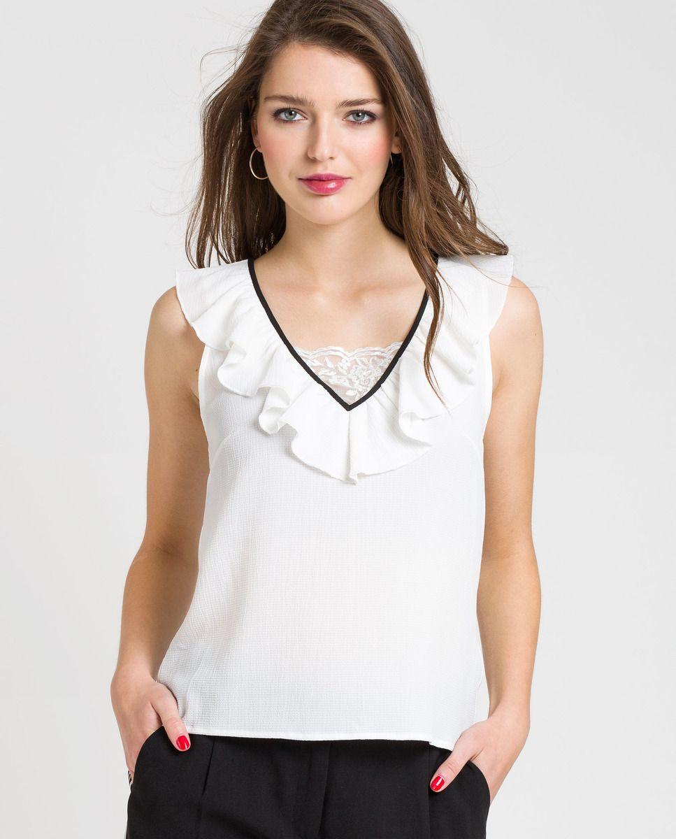 Camiseta de mujer Naf Naf sin mangas con cuello pico | Naf