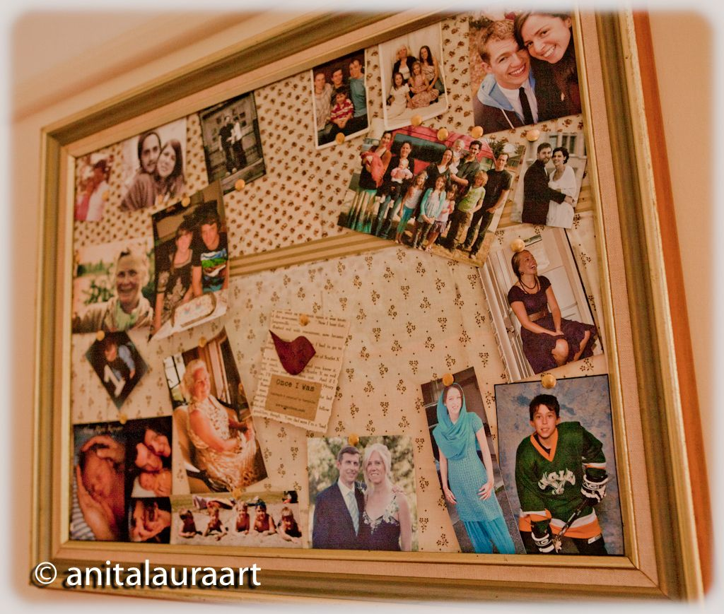 DIY Photo Pin Board using a frame with fabric over cardboard background