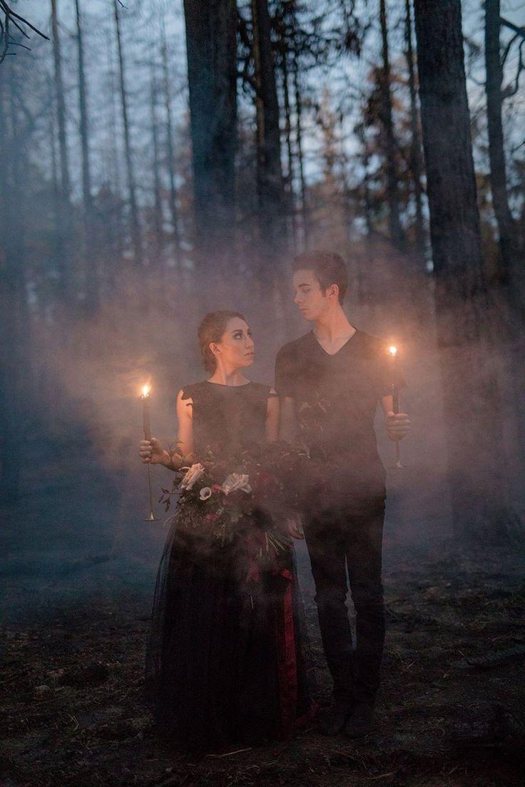 Elegance overflows at this misty Halloween ballet wedding inspiration