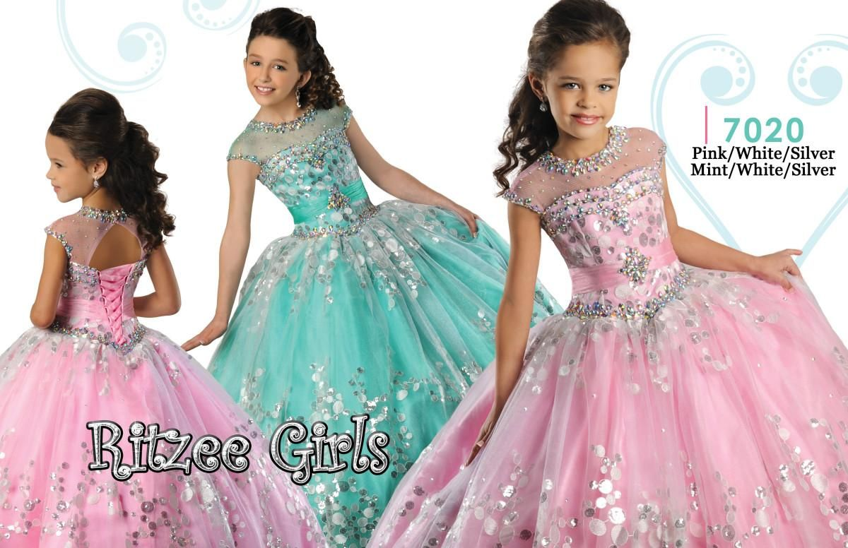 Sparkly Coral Organza Ritzee Girls Pageant Dresses 2017 Lovely Pink