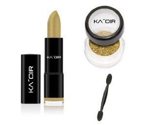 "KA'OIR By Keyshia KAOIR ""GOLDEN GODDESS"" GOLD Lipstick GLITZSTICK Glitter Set by KA'OIR Cosmetics. $27.99. Satin Based, Matte Finish. Smooth, creamy, long lasting.. Bright GOLD lipstick. NOT ANIMAL TESTED! Made in USA!. Unique, Glitter. Our New GlitzStick Collection is simply for the Glamorous life. There are 16 different light weight shades to choose from & they must be worn with our Lipsticks. Each Glitzstick uses our customized Cosmetic-Grade GLITZ. Watch our KA..."