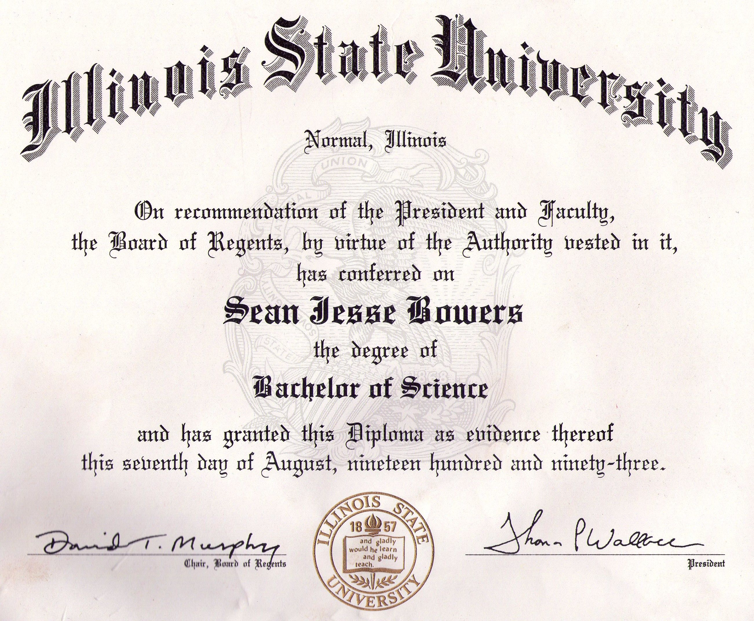 Illinois State University Bachelor Of Science In Accounting Sean