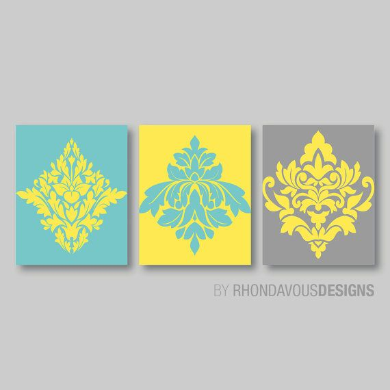 Teal Blue Yellow Gray French Damask Print Trio - Home Ornamental ...